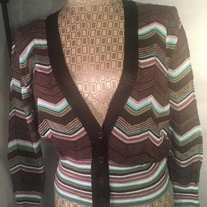 MISSONI  Italian  cardigan in browns pink and teal